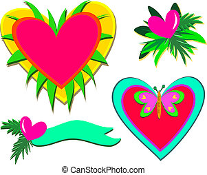 Mix of Hearts, Plants, and Butterfl