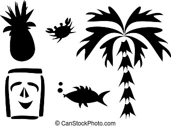 Mix of Tropical Silhouettes