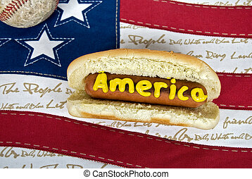 American Food - Hot dog with baseball on American flag.