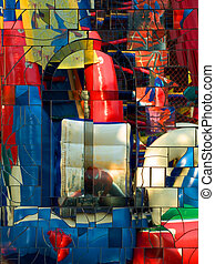 Abstract colorful mirror mosaic. - Abstract colorful mirror...