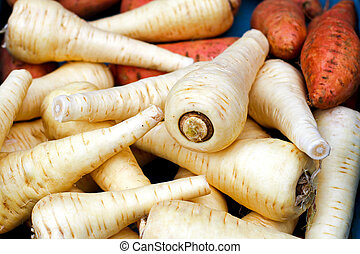 Parsnip - Big pile of organic freshly grown parsnip