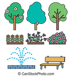 Park illust set - It is an illustration such as the plants...