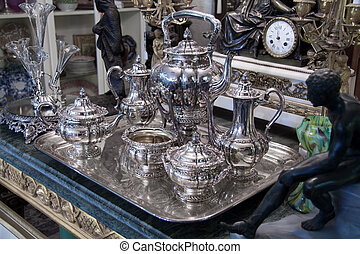 antigüidade, prata, chá, jogo