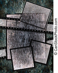 Film strip and film plates with vintage grunge texture, high detail