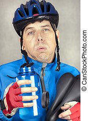 Exhausted Cyclist - Close-up of an exhausted cyclist.