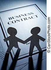 papier, contrat, hommes, chaîne,  Business