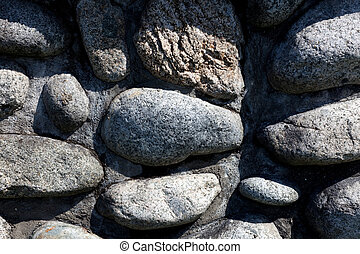 rounded river rocks wall for background