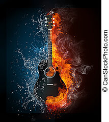 Electric Guitar on Fire and Water Isolated on Black...