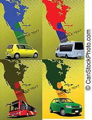Four covers with Map of North and