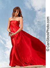 Divine woman - Photo of graceful female folded in bright red...
