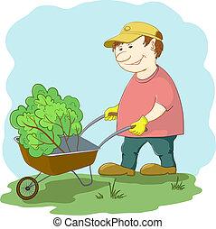 Gardener with wheelbarrow in garden