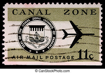 CANAL ZONE, PANAMA - CIRCA 1973: An 11-cent air mail stamp...