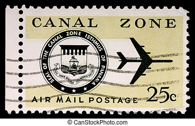 CANAL ZONE, PANAMA - CIRCA 1973: A 25-cent stamp printed in...