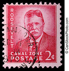 CANAL ZONE, PANAMA - CIRCA 1975: A 2-cent stamp printed in...
