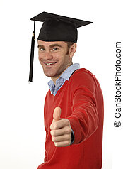 graduation - graduated student with thumb up