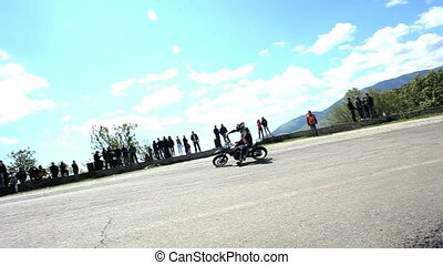 Accident at the race - Motorcyclist involved in the race on...
