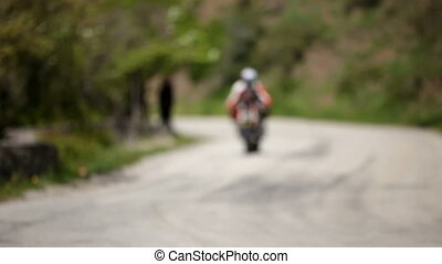 High-speed ride - Motorcyclist involved in the race on the...