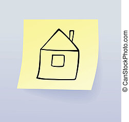 House - Simple drawing of a house on sticky paper, vector...