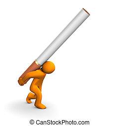 Cigarette Addiction - Orange cartoon with a big cigarette,...
