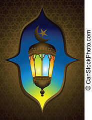 Old style arabic lamp with crescent