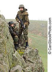 Soldiers on the rock