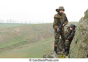 Soldiers on the cliff