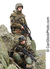 Equiped soldiers with guns