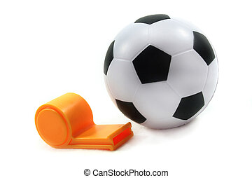 Football with whistle - Soccer with a whistle on a white...