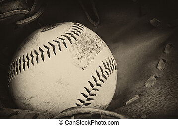 Vintage retro image of baseball and glove in old antique...