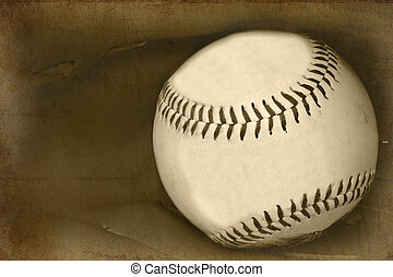 Image of baseball and catchers glove in vintage retro grunge...