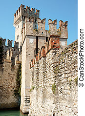 Scaligers castle of Sirmione at Garda Lake in the italian...