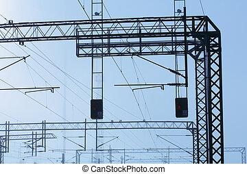 Railroad powerlines - Railroad powerline silhouettes against...