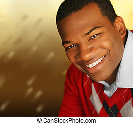 Young man smiling - Young African-American male smiling