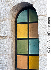 stained glass church window - window with mosaic of colorful...