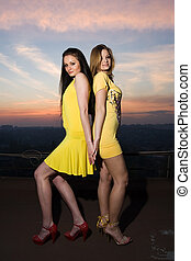 Two sexy young girls in short dresses