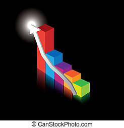 business performance graph on black - vector illustration of...