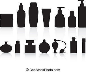 selection of silhouettes of perfume or lotion bottles