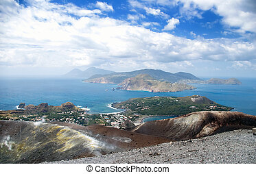 Cloudy coast of Lipari Island, Vulcano, Sicily, Italy