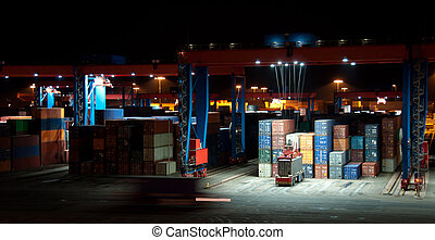 Commercial Container Port At Night - Busy Commercial...