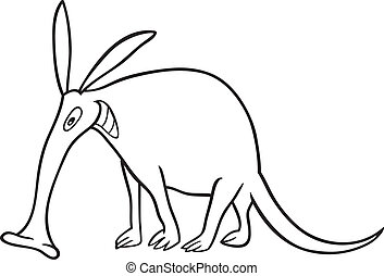 aardvark for coloring book - cartoon illustration of funny...