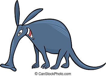 aardvark - cartoon illustration of funny aardvark