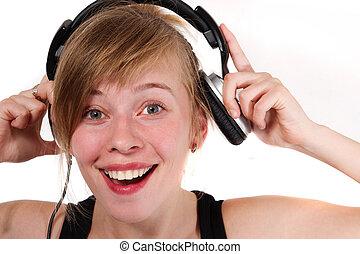 Portrait of a girl in headphones
