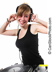 Positive girl DJ posing - Funny teenage female disc jockey...
