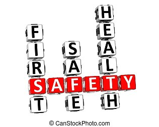 Safety Crossword - 3D Safety Crossword on white background