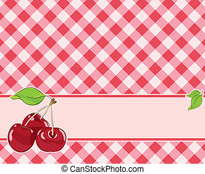 checkered background in red tones decorated with cherries....