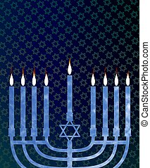 Hanukkah menorah - Illustration of a menorah with an...