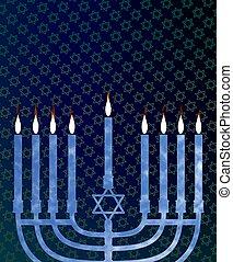 Hanukkah menorah - Illustration of a menorah with an...