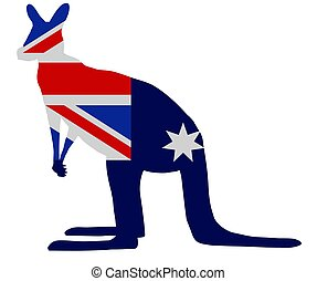 Kangaroo flag - Silhouette of a Kangaroo with an Australian...