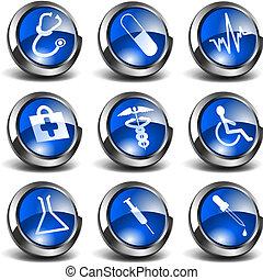 3D, saúde, médico, ícones, jogo, 01