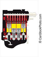 motor - vector illustration of car motor inside view...